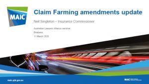Claim farming amendments upa